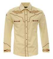 El General Cowboy Shirt Camisa Vaquera Western Wear Long Sleeve Beige