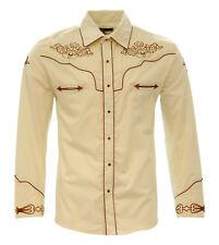 El General Cowboy Shirt Camisa Vaquera Western Wear Long Sleeve Beige