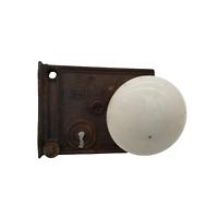 ANTIQUE VINTAGE WHITE PORCELAIN CERAMIC DOOR KNOBS WITH LOCK