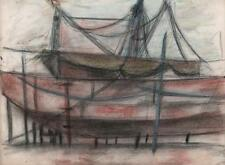 JEANETTE WELTY CHELF Drawing BOATS IN BOAT YARD c1960 ABSTRACT IMPRESSIONIST