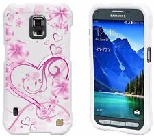 For Galaxy S5 ACTIVE Hard Sleek Snap On Case Cover Design SWIRL HEARTS