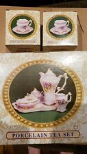 Brand New Unused Rare Fine English 10K Gold Trim Pink & Purple Porcelain Tea Set