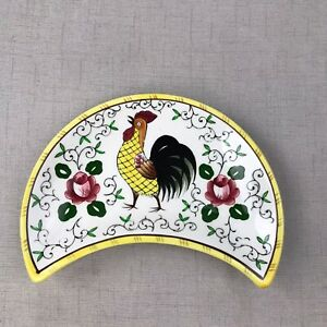Early Provincial PY Rooster & Roses Crescent Shaped Serving Bowl UCAGCO Dish