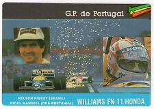 1987 portugués De Bolsillo Calendario F1 Williams Equipo-Nelson Piquet y Nigel Mansell