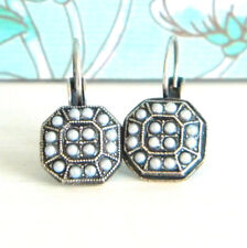 Antique Silver Glass Pearl Victorian Style Leverback Earrings