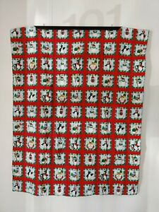 Handmade Christmas Quilt Lap Blanket Cotton Throw Folds to Pillow