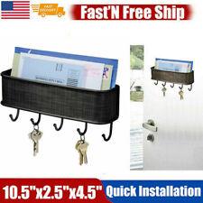 Wall Mount Key Mail Rack Hanger Holder Hook Chain Letter Storage Organizer Black