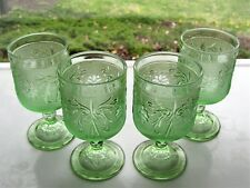 Tiara Indiana Glass 4 Chantilly Green Sandwich Stemmed Table Wine Goblets