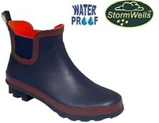 Ladies Short Ankle Wellington Wellies Boots Navy Red Dog Walking Size 3 - 9 UK