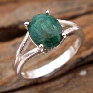 Sakota Mine Emerald Gemstone 925 sterling Silver Women Ring Size US 8