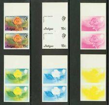 Antigua 1976 Tree Flower 15c progressive proof pairs