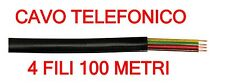 Cavo Telefono Telefonico Piatto 4 Fili NERO Matassa Flessibile 100 MT Bobina