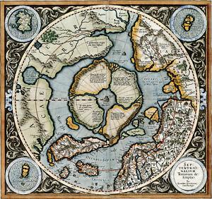 "1595 Mercator Map of the Northern Polar Regions 11""x12"" Wall Art Poster Decor"