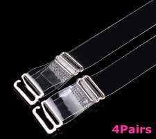 4 x Clear Bra Straps Invisible Adjustable Detachable Metal Hook stock UK