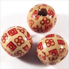 Lot de 20 Perles rondes en Bois 14mm Motif Fleurs