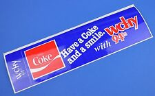 De grandes Coca Cola Coke autocollants USA 1981 Decal Radio Station WCHY 94 FM