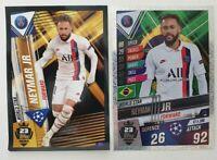 2020 Neymar Jr Soccer Card - World Star W23 S23 PSG + Sticker Match Attax 101