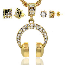 Mens 16K Gold Plated Headphones Pendant Rope Chain Cube/CZ Earrings 3Sets