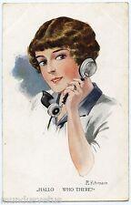 a/s. R. FUHRMANN.JOLIE FEMME AU TELEPHONE.PHONE. BEAUTIFUL LADY. CHARME. CHARM.