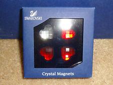 NIB Swarovski Crystal Heart Magnets Set of 4 Red Clear