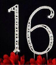 Large Rhinestone Crystal Sweet Sixteen 16 Birthday Number Cake Topper
