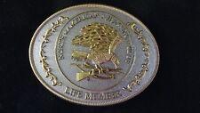 BELT BUCKLE North American Hunter's Club Life Member Brass/Gold-tone Eagle Gun B