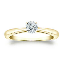 Certified 14k Yellow Gold 4-Prong Round Diamond Solitaire Ring 0.40ct G-H, I2-I3