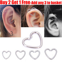 Surgical Steel Silver Heart Helix Cartilage Ring Tragus Daith Ring Hoop Earring