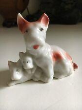 "Vintage 1960s Porcelain Terrier with 2 Pups Dog Figurine 2 1/2"" Tall Japan"