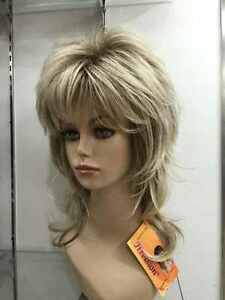 blonde with medium brown root layered medium length synthetic women's full wig