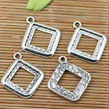 12pcs Tibetan silver plated square cabochon settings EF2019