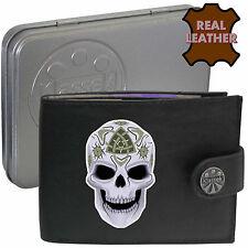 Klassek Celtic Skull Death Leather Wallet Celt Pagan gift Candy skull Tin RFID