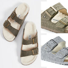 Women Birkenstock Arizona Wool Shearling Adjustable Slide Sandals Fur Lining NEW