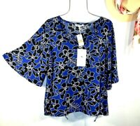 Tommy Bahama Women's Blue Floral Summer Chic Boho Top Blouse Shirt Small NWT