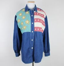 HAIRSTON ROBERSON ROPA American Flag Shirt SMALL Patchwork July 4th Americana