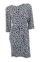 Marks /& Spencer Prussian Blue Crepe Shift Dress with Feature Sleeves