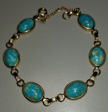 Vintage Link Bracelet with Oval Blue Stone (Glass,Turquoise?) and Safety Chain