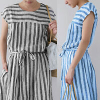 Women Short Sleeve Summer T-Shirt Dress Tunics Stripe Long Shirt Dress Sundress