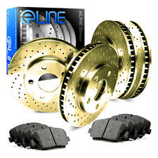 2004-2010 Toyota Sienna Full Kit Gold Drilled Brake Disc Rotors & Ceramic Pads