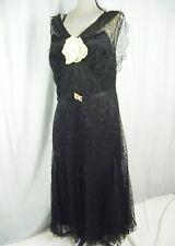 e567829b15beb3 Antik 1920-30s Schwarz Blumen Spitze Flapper Lang Kleid mit / Cape-Bust 38
