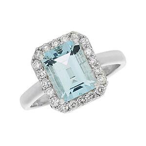 9ct White Gold Aqua & 0.37ct Diamond Cluster Ring Aquamarine -RD429WAQ All Sizes
