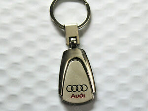 For AUDI Metal Chrome Tear drop Laser Engraved Keychain Key Fob Ring