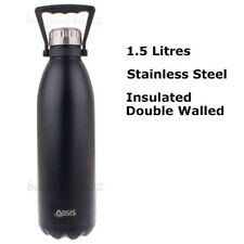 Oasis S/S Double Wall Insulated Drink Bottle Vacuum Flask 1.5L with Handle Black