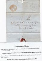 # 1853 KENTVILLE N S CANADA WRAPPER 1/- TO COMMERCIAL BANK LONDON H/S 2 DELETED