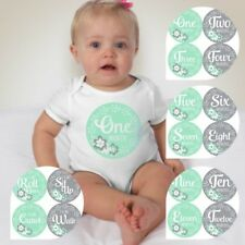 Baby Custom Monthly One Piece Clothing - Calligraphy Teal and Gray