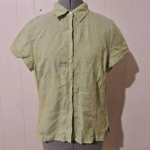 Sportscraft Women's Size 14 Short Sleeve Shirt Button Front Pure Linen - SG17