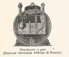 B2967 Contatore a gaz - Xilografia d'epoca - 1926 old engraving
