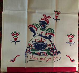 Vintage Cotton Dish, Tea Towel Black Americana ~  Come and Get it ~ Hard to Find