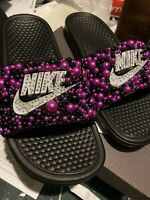 Bling Nike slides. White Nike Sign Decorated With Pink And Black Pearls