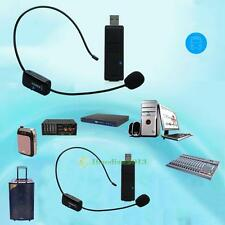 UHF Stage Wireless Headset Microphone System Mic USB FM Transmitter Receiver